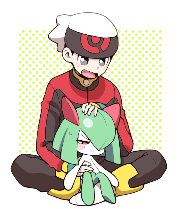 1boy 1girl annoyed bangs beanie black_pants blue_gloves blush blush_stickers closed_mouth embarrassed fingerless_gloves full_body gen_3_pokemon gloves green_hair green_skin grey_eyes hair_over_one_eye half-closed_eyes hand_on_another's_head hand_up happy hat indian_style jacket kirlia long_sleeves looking_at_another minashirazu open_mouth pants petting poke_ball_symbol poke_ball_theme pokemon pokemon_(creature) pokemon_(game) pokemon_rse polka_dot polka_dot_background red_eyes red_jacket shiny shiny_hair short_hair simple_background sitting sitting_on_lap sitting_on_person size_difference smile socks sweat two-tone_skin white_headwear white_legwear white_skin yuuki_(pokemon)