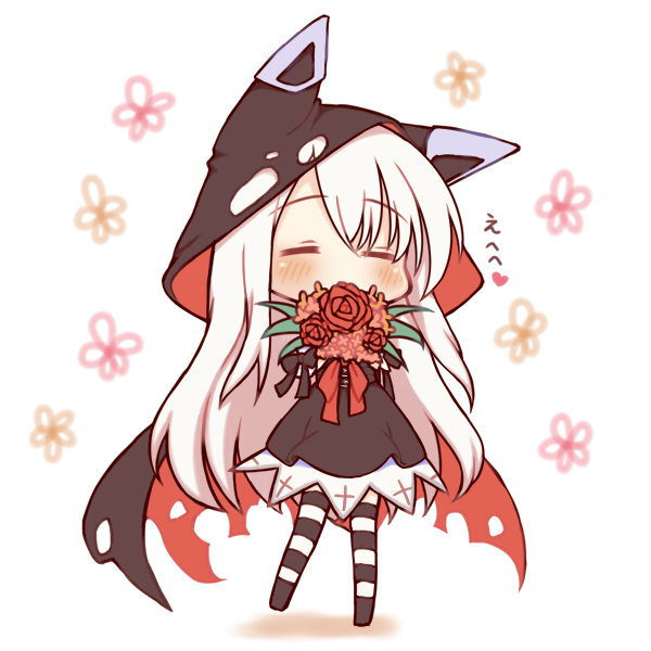 1girl azur_lane bangs black_bow black_cape black_skirt blush bouquet bow cape chibi closed_eyes commentary_request erebus_(azur_lane) eyebrows_visible_through_hair flower full_body hair_between_eyes heart holding holding_bouquet hood hood_up hooded_cape long_hair multicolored multicolored_cape multicolored_clothes no_shoes pantyhose red_bow red_cape red_flower red_rose rose sakurato_ototo_shizuku shadow skirt solo standing standing_on_one_leg striped striped_legwear torn_cape torn_clothes translation_request very_long_hair white_background white_hair