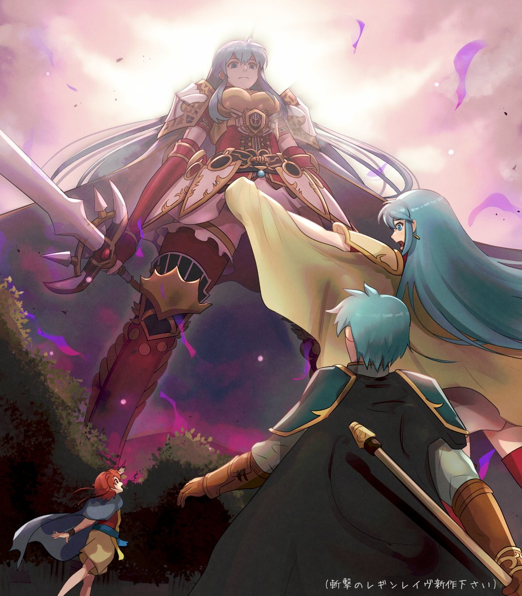 1girl 2boys aqua_eyes aqua_hair armor aura bangs blocking blush bush cape commentary_request dark_aura dark_persona dual_persona earrings eirika embarrassed ephraim ewan_(fire_emblem) expressionless fire_emblem fire_emblem:_seima_no_kouseki fire_emblem_heroes giantess gonzarez highres holding holding_lance holding_sword holding_weapon jewelry long_hair looking_down looking_up multiple_boys open_mouth orange_hair short_hair shoulder_armor skirt sky sword tears thigh-highs translated weapon zettai_ryouiki
