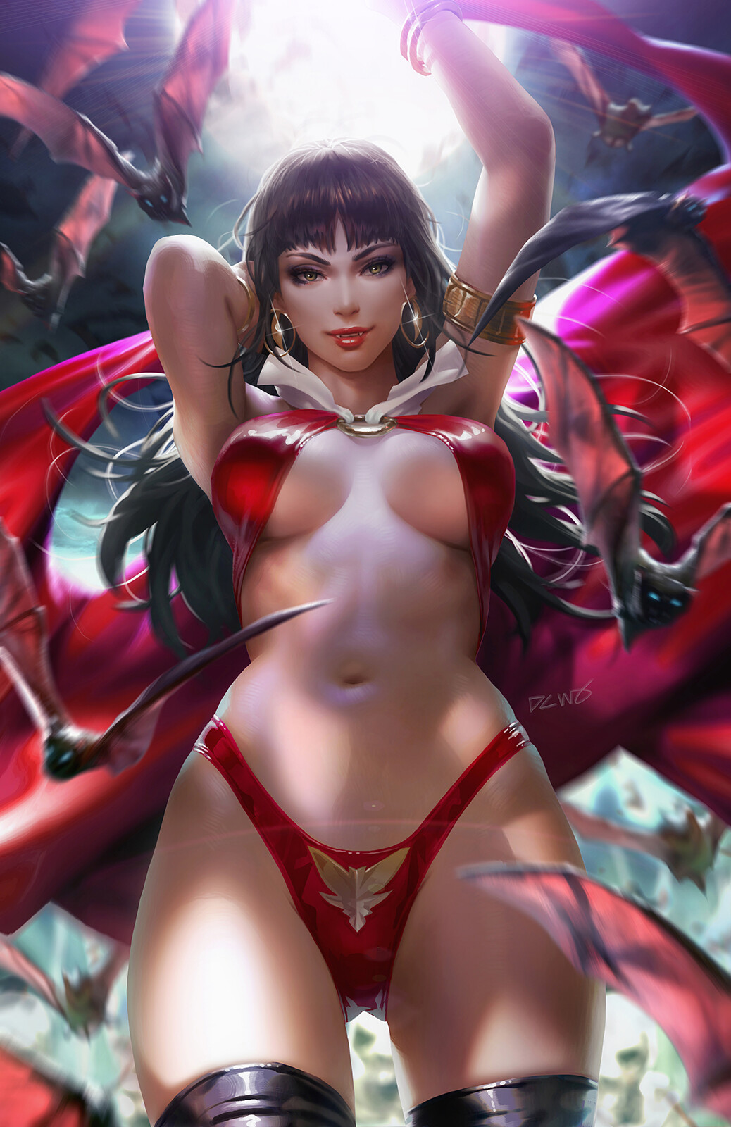 1girl armlet arms_up bangle bangs bat bikini black_hair blue_eyes bracelet breasts brown_eyes cape cowboy_shot dcwj earrings fang fangs glint gold groin highleg highleg_bikini highres hoop_earrings jewelry large_breasts long_hair looking_at_viewer navel o-ring o-ring_top parted_lips red_bikini red_cape red_swimsuit sidelocks signature skindentation slingshot_swimsuit smile solo standing stomach swimsuit thigh-highs vampirella vampirella_(character) wings