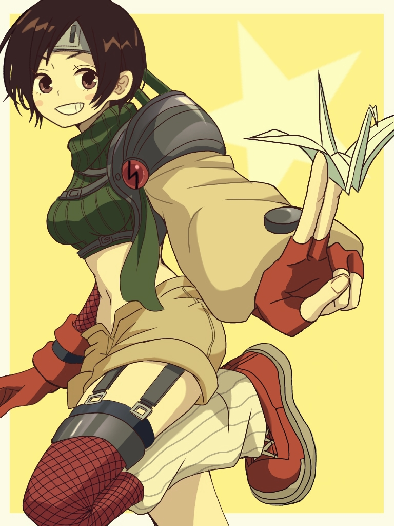 1girl armor black_hair breasts brown_eyes commentary_request final_fantasy final_fantasy_vii fishnets gloves headband ichi_(pixiv6373491) looking_at_viewer midriff navel ninja short_hair shorts sleeveless sleeveless_turtleneck smile solo turtleneck yuffie_kisaragi