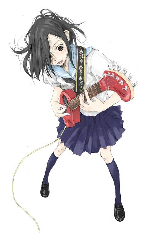 guitar instrument original school_uniform serafuku tamaoki_benkyou