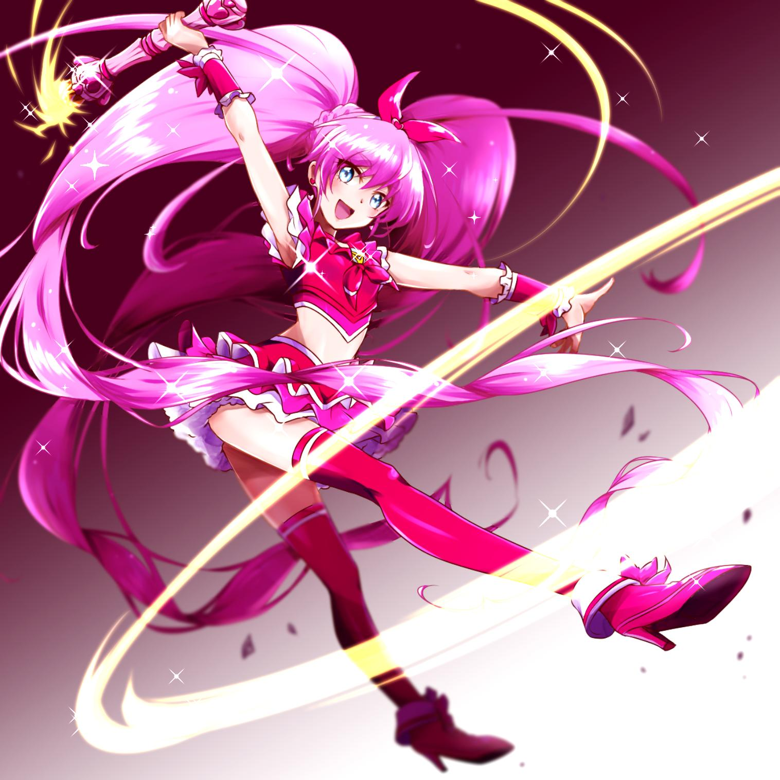 1girl armpits blue_eyes bow choker commentary crop_top cure_melody earrings full_body gradient gradient_background heart high_heels highres holding holding_wand houjou_hibiki jewelry long_hair looking_at_viewer magical_girl miniskirt niita open_mouth pink_bow pink_choker pink_hair pink_legwear precure skirt sleeveless smile stud_earrings suite_precure thigh-highs twintails wand