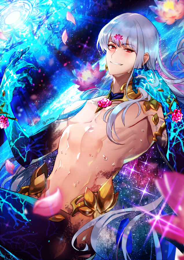 1boy abs armor bangs bare_shoulders bikini_armor chest earrings eyebrows_visible_through_hair fate/grand_order fate_(series) flower genderswap genderswap_(ftm) grin jewelry kama_(fate/grand_order) lily_pad looking_at_viewer lotus male_focus navel no_nipples pin1004 red_eyes revealing_clothes silver_hair smile solo toned toned_male twitter_username