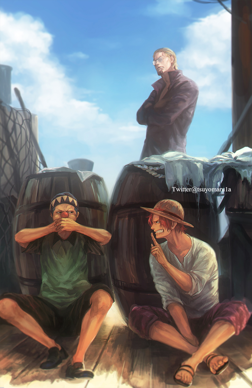 3boys bandana barrel beard blue_hair blue_sky buggy_the_clown clouds covering_mouth facial_hair finger_to_mouth glasses hat highres male_focus multiple_boys one_piece redhead shanks shushing silvers_rayleigh sky straw_hat tsuyomaru twitter_username watermark younger