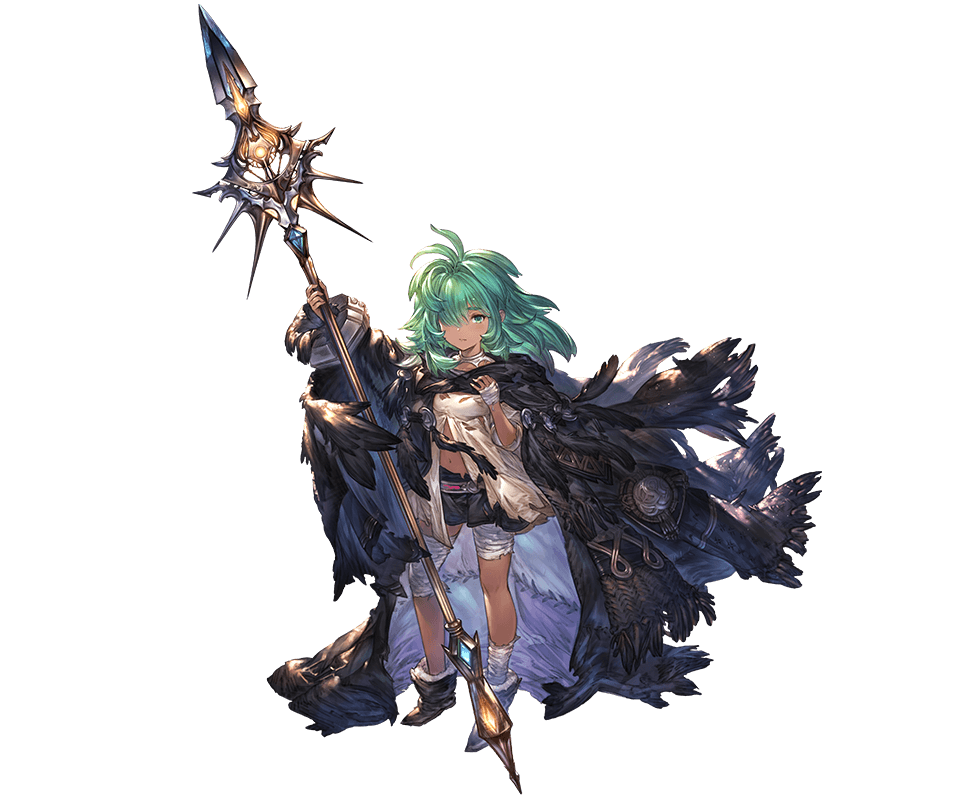 1girl bandages boots cape dark_skin granblue_fantasy green_eyes green_hair hair_over_one_eye kolulu_(granblue_fantasy) looking_at_viewer messy_hair minaba_hideo navel official_art polearm skirt solo spear torn_clothes weapon