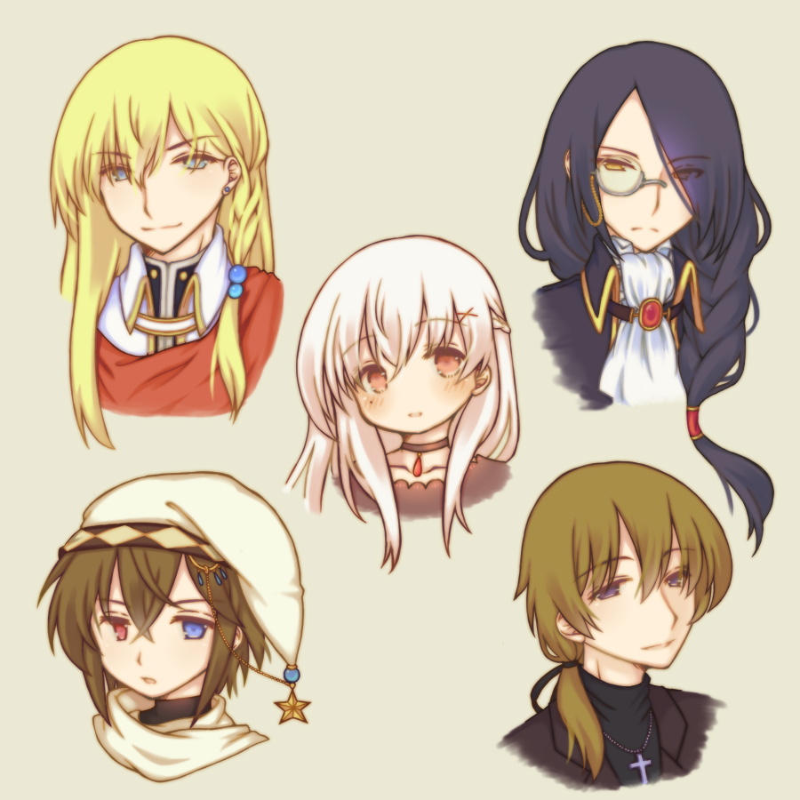 1girl 4boys bangs black_choker black_jacket black_shirt blue_hair blush braid brown_background brown_hair choker closed_mouth commentary_request cross cross_necklace earrings eyebrows_visible_through_hair grey-framed_eyewear hair_between_eyes hair_ornament hair_over_one_eye hair_over_shoulder hat head_tilt heterochromia jacket jewelry latin_cross long_hair low_ponytail monocle multiple_boys necklace original parted_lips ponytail portrait red_eyes sakurato_ototo_shizuku semi-rimless_eyewear shirt simple_background smile star stud_earrings under-rim_eyewear violet_eyes white_hair white_headwear white_neckwear x_hair_ornament