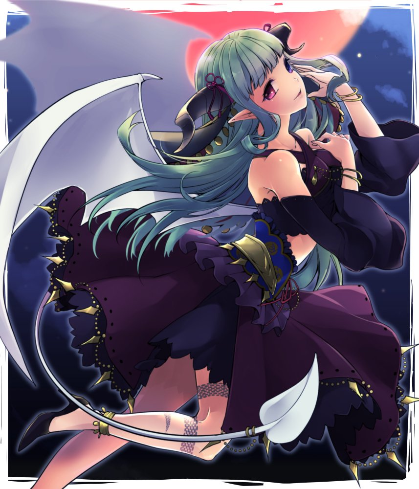 1girl ataka_takeru black_footwear black_sleeves blue_eyes blurry blurry_background bracelet demon_tail demon_wings detached_sleeves floating_hair fortune_tellers_academy from_side green_hair hair_ribbon heterochromia horns jewelry layered_skirt long_hair long_sleeves looking_at_viewer midriff parted_lips pumps purple_ribbon purple_skirt red_eyes ribbon skirt smile solo tail thigh_strap very_long_hair white_wings wings