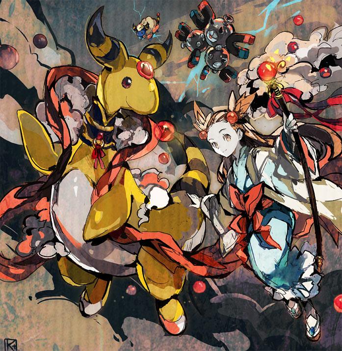 1girl ampharos blue_kimono brown_eyes brown_hair closed_mouth gym_leader holding holding_staff japanese_clothes kantarou_(8kan) kimono long_hair looking_at_viewer magneton mareep mikan_(pokemon) neck_ribbon pokemon pokemon_(game) pokemon_gsc red_ribbon ribbon smile staff very_long_hair