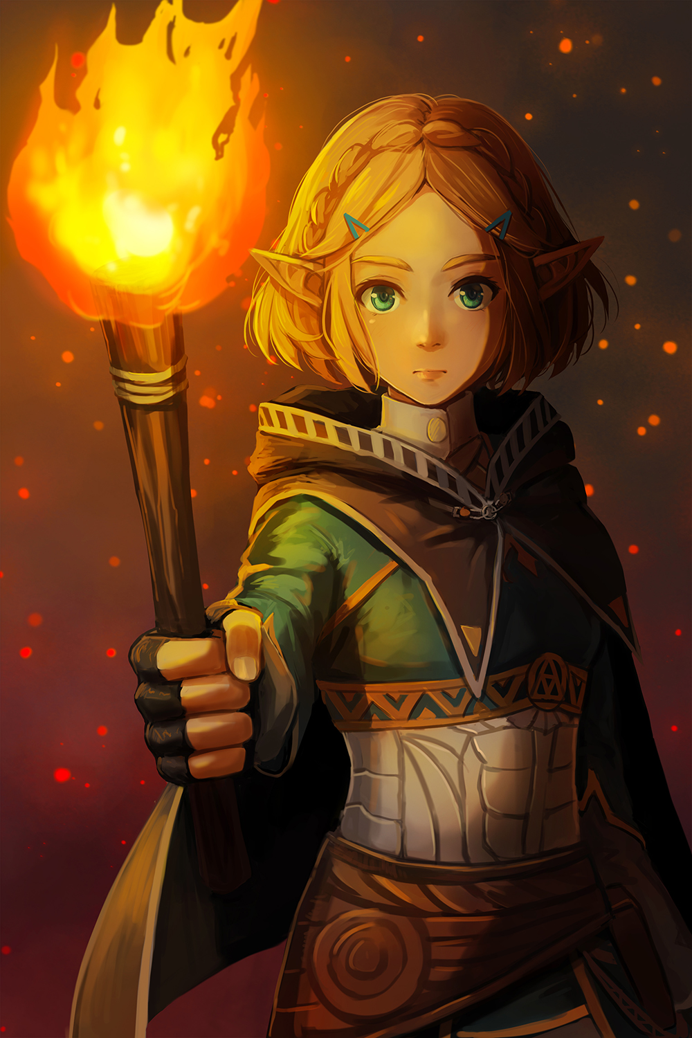 1girl aqua_eyes black_gloves blonde_hair braid cape commentary crown_braid expressionless fingerless_gloves fire flame gloves hair_ornament hairclip highres holding holding_torch hood hood_down long_sleeves looking_at_viewer pointy_ears princess_zelda redpoke short_hair solo the_legend_of_zelda the_legend_of_zelda:_breath_of_the_wild the_legend_of_zelda:_breath_of_the_wild_2 torch