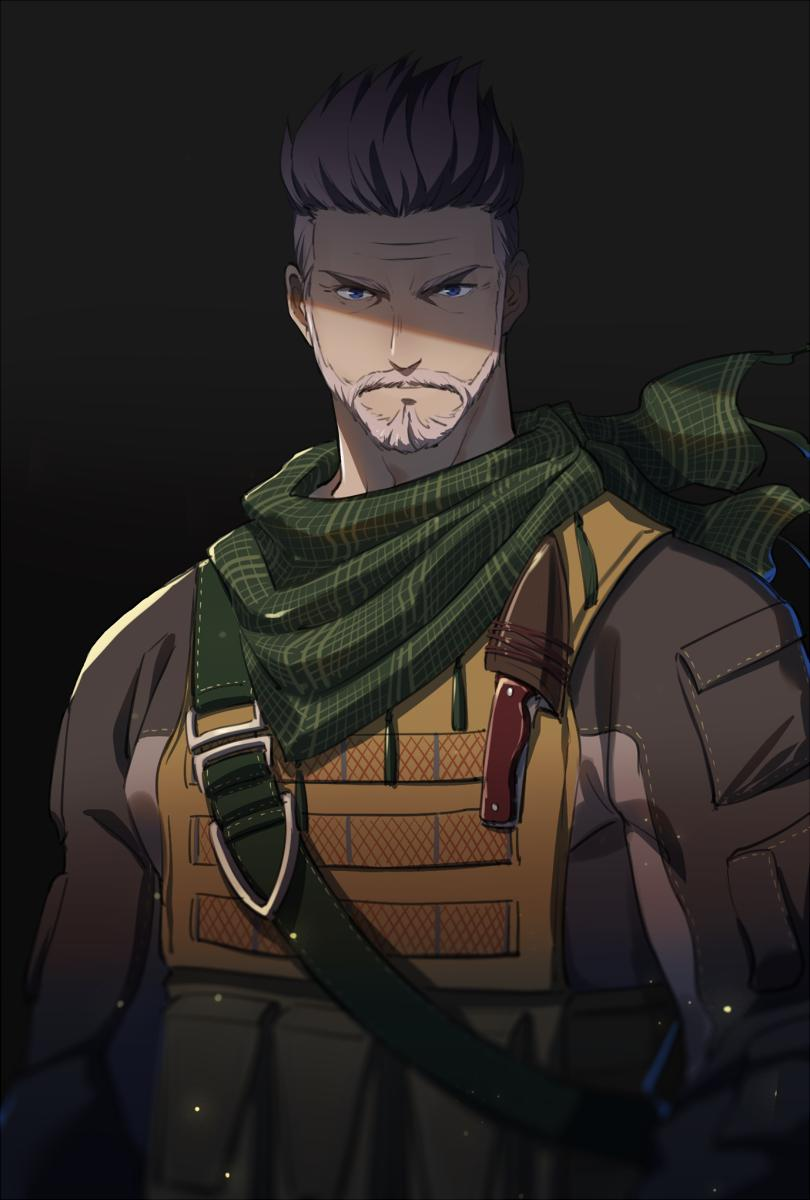 1boy 47_(479992103) beard closed_mouth facial_hair fate/grand_order fate_(series) highres knife looking_at_viewer male_focus military military_uniform scarf silver_hair simple_background solo uniform william_tell_(fate/grand_order)