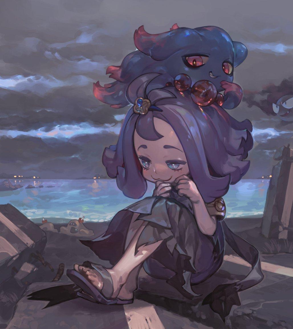 1girl :3 acerola_(pokemon) armlet closed_mouth clouds cloudy_sky dress elite_four flipped_hair gastly gen_1_pokemon gen_2_pokemon gen_7_pokemon hair_ornament jikan_hakushaku misdreavus pokemon pokemon_(creature) pokemon_(game) pokemon_sm purple_hair sandals sandygast short_hair sitting sky trial_captain water