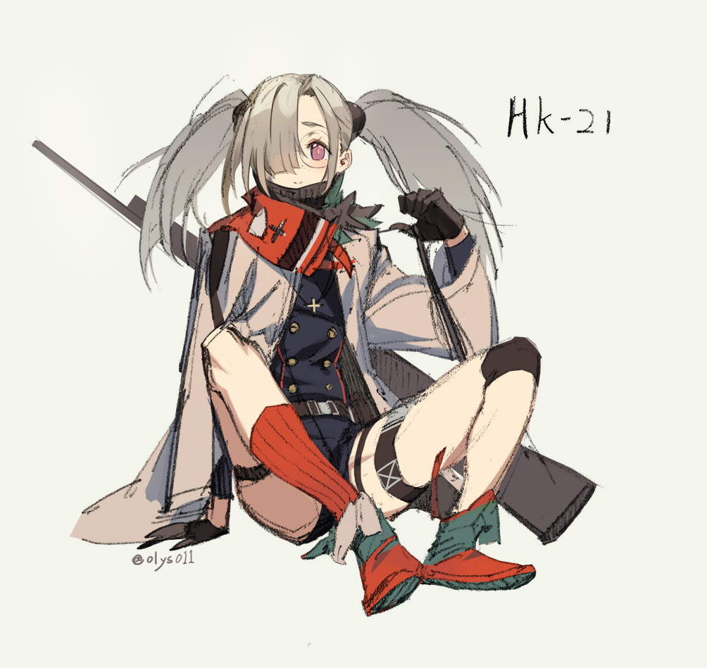 1girl artist_name bangs belt belt_buckle black_gloves blush buckle buttons coat cross facing_viewer girls_frontline glasses gloves green_footwear grey_hair gun h&k_hk21 hair_over_one_eye hk21_(girls_frontline) holding_strap jacket jewelry knee_pads kneehighs leaning leaning_to_the_side long_hair long_sleeves looking_at_viewer olys red_footwear red_legwear red_scarf rifle round_eyewear scarf simple_background sitting smile solo thigh_strap twintails violet_eyes weapon white_background