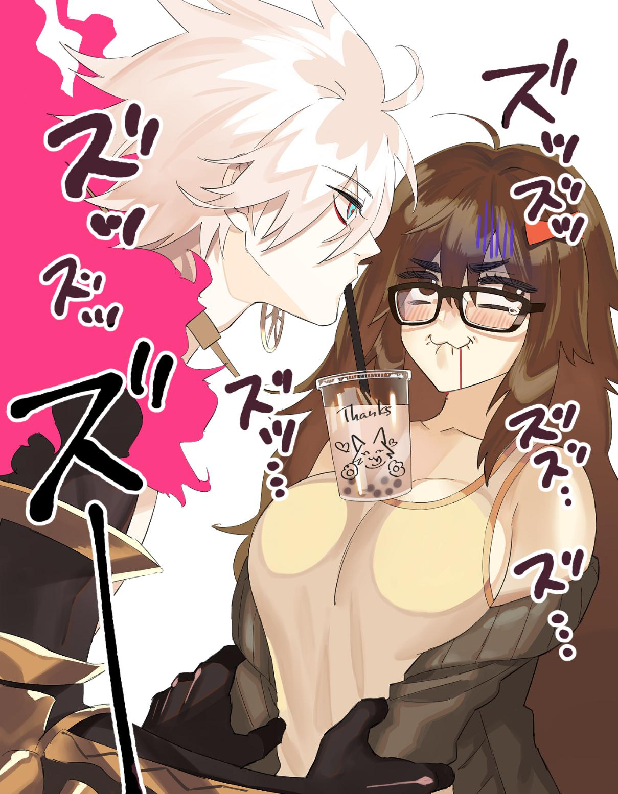 1boy 1girl biting black-framed_eyewear blue_eyes blush bow breasts brown_eyes brown_hair bubble_tea bubble_tea_challenge cape cardigan clothes_down commentary drinking_straw english_text eyebrows_visible_through_hair fate/grand_order fate_(series) fur_collar glasses hair_bow highres holding_another's_arm jinako_carigiri karna_(fate) large_breasts lip_biting long_hair looking_away messy_hair tank_top tears translated warabi_tama white_background white_hair writing