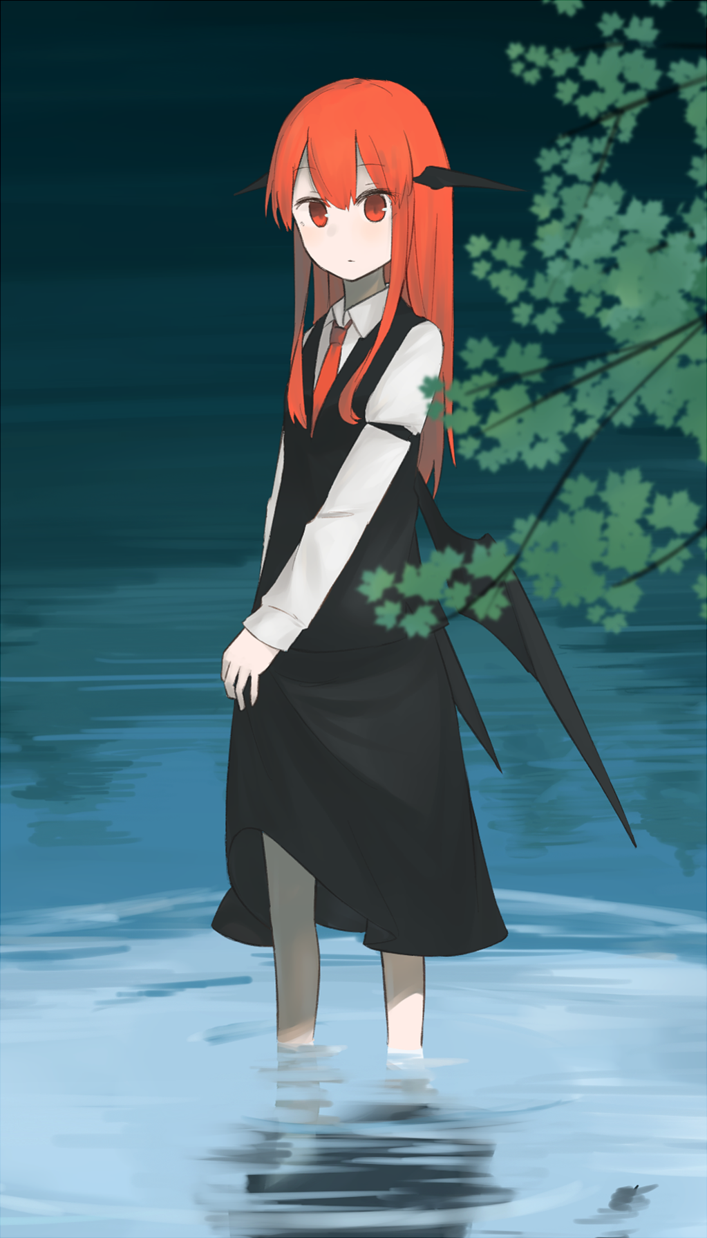 1girl :/ armband bat_wings dress_shirt expressionless eyebrows_visible_through_hair full_body hair_between_eyes head_wings highres hinami047 koakuma long_hair long_skirt long_sleeves looking_at_viewer low_wings necktie outdoors red_eyes red_neckwear redhead reflection shirt sidelocks skirt skirt_lift skirt_set solo standing touhou tree vest water wings