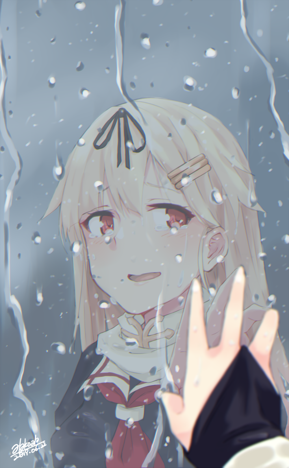 1girl against_glass alakoala_shoushou black_gloves black_ribbon black_serafuku blonde_hair commentary_request dated fingerless_gloves gloves hair_flaps hair_ornament hair_ribbon hairclip highres kantai_collection long_hair looking_at_viewer neckerchief rain red_eyes red_neckwear reflection remodel_(kantai_collection) ribbon scarf school_uniform serafuku signature solo tearing_up water_drop white_scarf yuudachi_(kantai_collection)