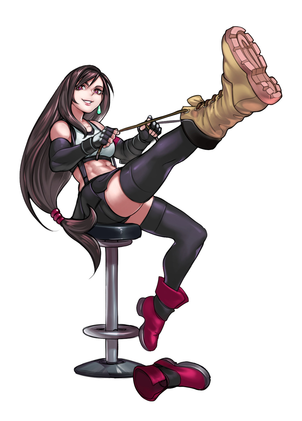 1girl abs alternate_footwear ankle_boots bar_stool bike_shorts black_gloves black_hair black_skirt boots breasts combat_boots detached_sleeves earrings final_fantasy final_fantasy_vii final_fantasy_vii_remake fingerless_gloves full_body gloves highres jewelry leg_lift leg_up lips long_hair looking_at_viewer low-tied_long_hair medium_breasts midriff mismatched_footwear plantar_flexion shorts shorts_under_skirt sitting skirt solo sports_bra stool suspender_skirt suspenders thigh-highs tifa_lockhart toned violet_eyes voodoothur white_background