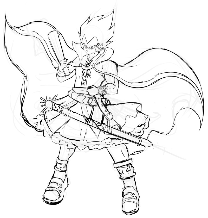 1boy anklet belt blouse bracelet cape commentary_request cosplay crossdressing dragon_ball dragon_ball_z earmuffs full_body high_collar holding jewelry looking_at_viewer male_focus mazume monochrome neck_ribbon petticoat ribbon ritual_baton sandals scabbard sheath sheathed simple_background sketch skirt sleeveless sleeveless_blouse spiky_hair standing sword thick_eyebrows touhou toyosatomimi_no_miko toyosatomimi_no_miko_(cosplay) vegeta weapon white_background