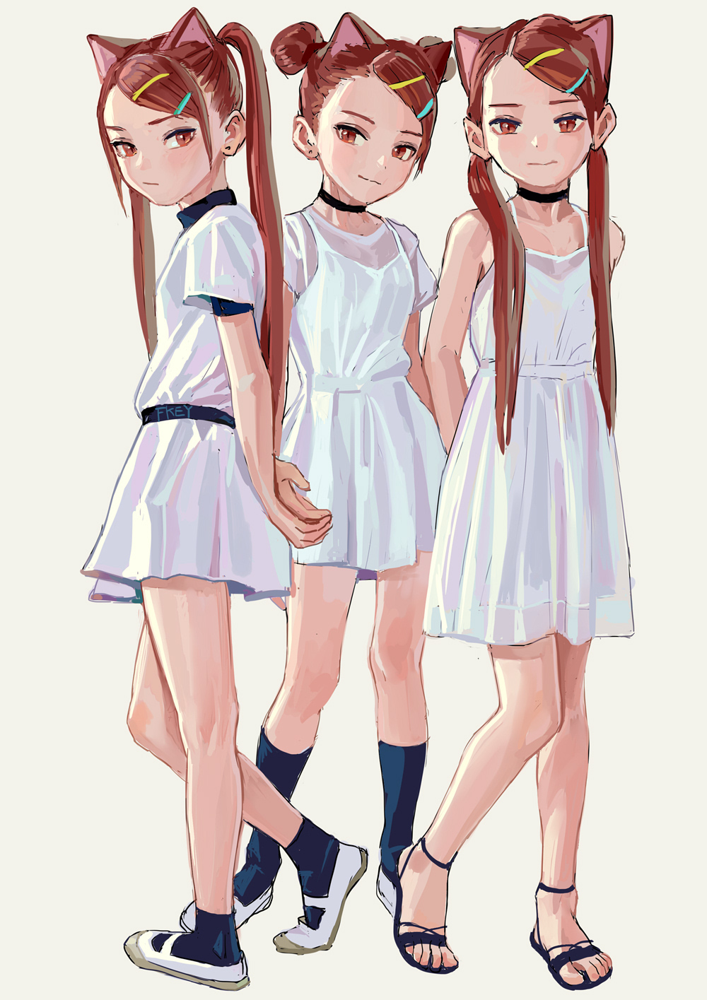 3girls animal_ears artist_name bangs bare_arms bare_shoulders black_choker black_footwear brown_eyes brown_hair cat_ears choker closed_mouth double_bun dress fkey grey_background hair_ornament hairclip head_tilt highres kneehighs long_hair multiple_girls navy_blue_legwear original sandals shoes short_sleeves simple_background sleeveless sleeveless_dress smile socks standing standing_on_one_leg swept_bangs twintails uwabaki very_long_hair white_dress white_footwear