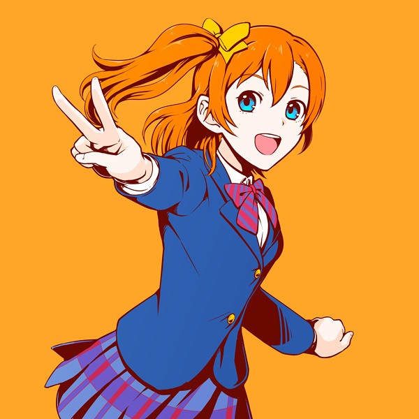 1girl :d blue_eyes blue_jacket blue_skirt bow collared_shirt dress_shirt gomi hair_between_eyes hair_bow jacket kousaka_honoka long_hair long_sleeves looking_at_viewer love_live! love_live!_school_idol_project miniskirt open_mouth orange_background orange_hair outstretched_arm pleated_skirt shirt side_ponytail simple_background skirt smile solo standing striped striped_neckwear v white_shirt wing_collar yellow_bow