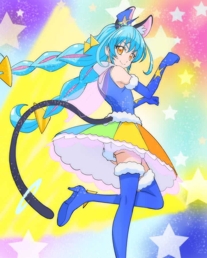 1girl animal_ear_fluff animal_ears blue_gloves blue_hair blue_headwear blue_legwear cat_ears cat_tail closed_mouth cure_cosmo elbow_gloves gloves haruyama_kazunori hat long_hair looking_at_viewer magical_girl mini_hat multicolored multicolored_clothes multicolored_skirt orange_eyes precure skirt smile solo standing standing_on_one_leg star star_twinkle_precure starry_background tail thigh-highs twintails yuni_(precure)