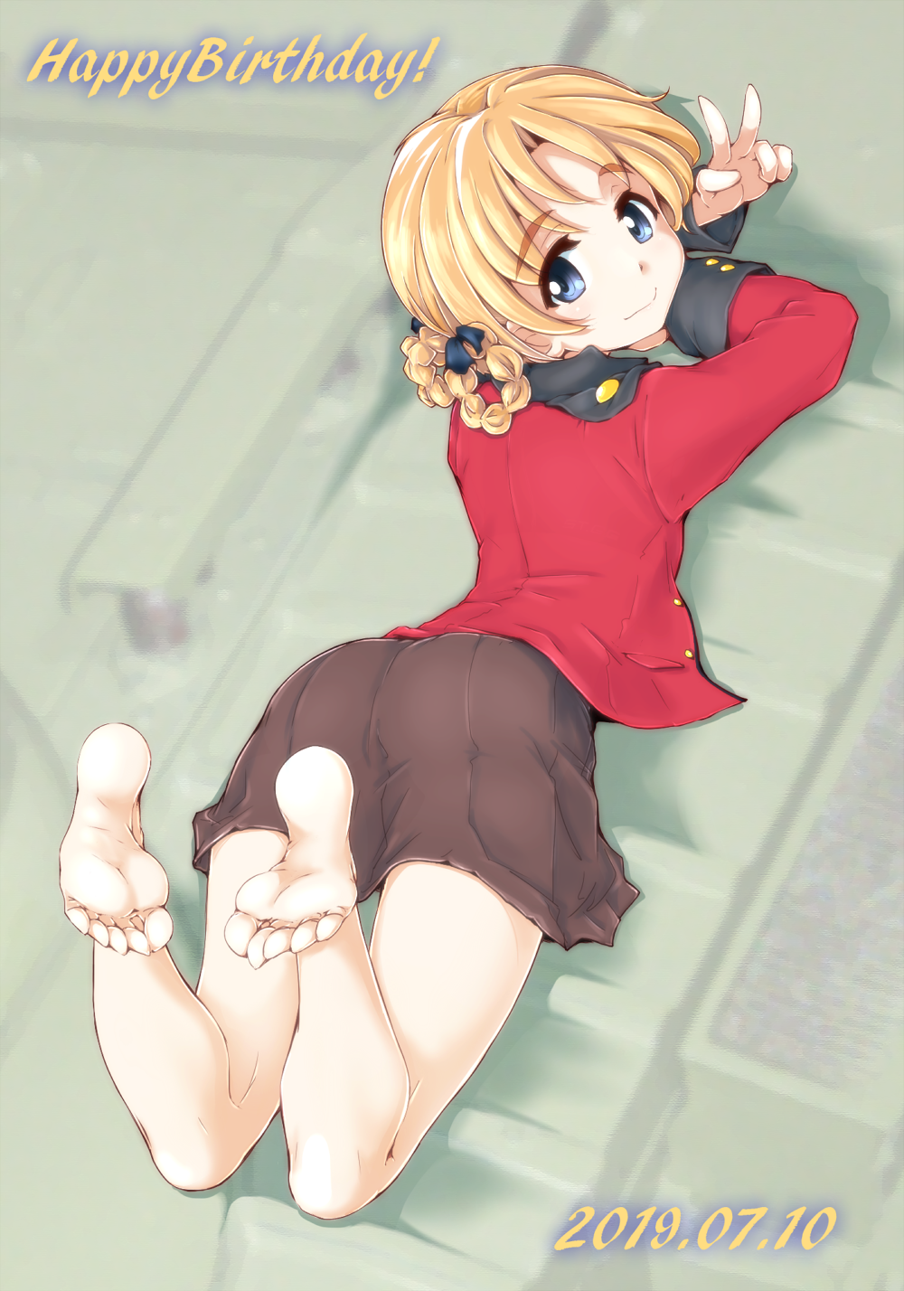 1girl arms_up bangs barefoot black_ribbon black_skirt blue_eyes braid closed_mouth commentary dated epaulettes from_above girls_und_panzer hair_ribbon highres jacket long_sleeves looking_at_viewer looking_back lying military military_uniform miniskirt on_stomach on_vehicle orange_hair orange_pekoe_(girls_und_panzer) parted_bangs pleated_skirt red_jacket ribbon sasaki_akira_(ugc) shadow short_hair skirt smile solo st._gloriana's_military_uniform tied_hair twin_braids uniform v