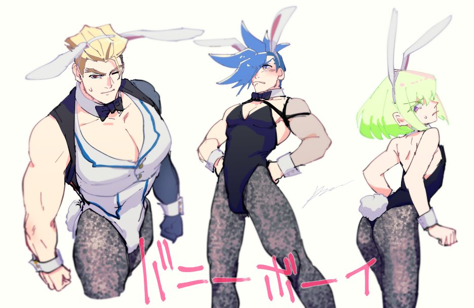 3boys animal_ears black_legwear black_neckwear blonde_hair blue_hair bow bowtie bunny_boy bunny_tail bunnysuit clenched_hands detached_collar fake_animal_ears fake_tail galo_thymos green_hair igote kray_foresight leotard lio_fotia male_focus multiple_boys muscle one_eye_closed pantyhose promare rabbit_ears red_eyes sagemaru-br simple_background spiky_hair tail white_background wrist_cuffs