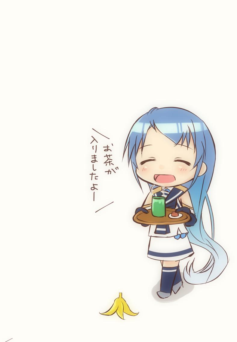 1girl banana_peel bangs blue_gloves blue_hair blue_legwear blush chibi closed_eyes commentary_request cup elbow_gloves eyebrows_visible_through_hair gloves holding holding_tray kantai_collection long_hair mae_(maesanpicture) open_mouth samidare_(kantai_collection) simple_background solo swept_bangs thigh-highs translation_request tray very_long_hair white_background white_serafuku zettai_ryouiki