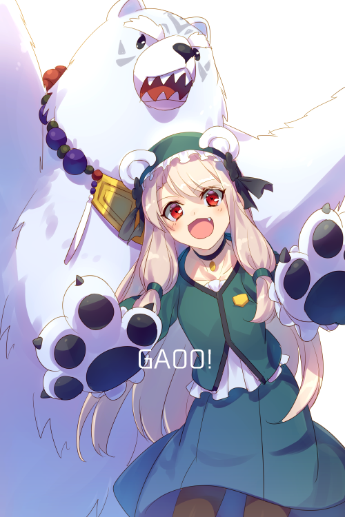 1girl alternate_costume animal animal_ears bead_necklace beads bear bear_ears bear_paws black_ribbon blush cis05 commentary_request dress eyebrows_visible_through_hair fang fate/grand_order fate_(series) gao gloves green_dress hair_between_eyes hair_ornament hair_ribbon illyasviel_von_einzbern jewelry long_hair looking_at_viewer necklace open_mouth paw_gloves paws polar_bear red_eyes ribbon sharp_teeth shirou_(fate/grand_order) silver_hair simple_background sitonai smile teeth white_background
