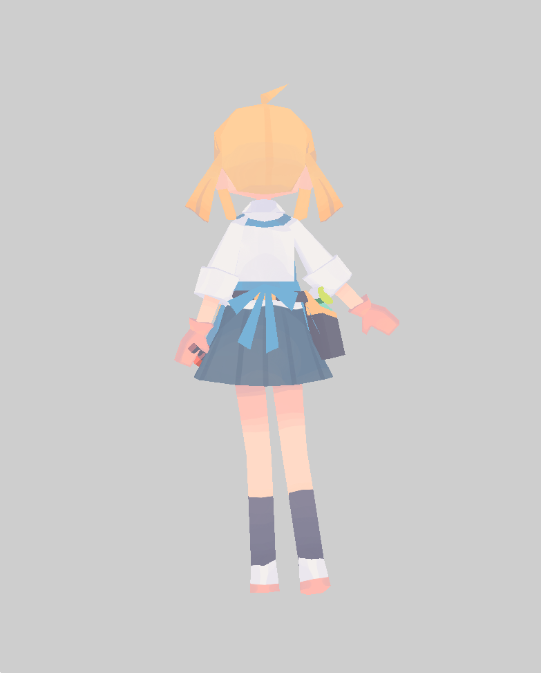 1girl ahoge arm_at_side black_legwear blonde_hair daizu_(melon-lemon) facing_away from_behind full_body gloves grey_background low_twintails no_lineart original outstretched_arm pleated_skirt shirt shoes simple_background skirt socks solo twintails uwabaki white_shirt