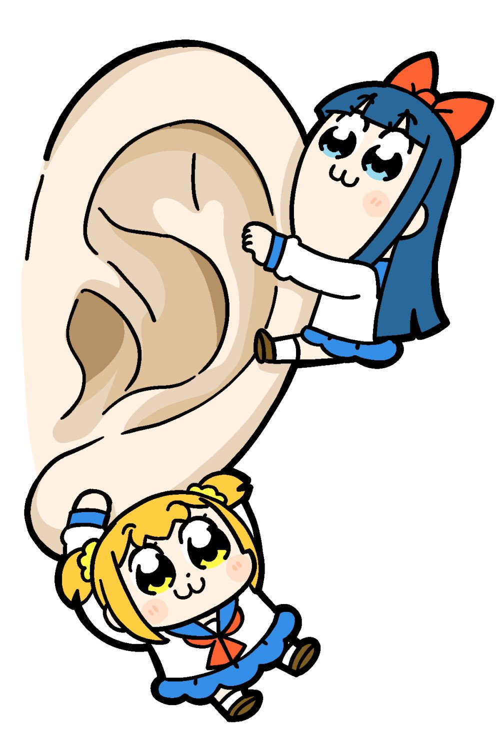 2girls :3 bangs bkub blue_eyes blue_hair blue_sailor_collar blue_skirt blush_stickers bow brown_footwear commentary disembodied_appendage dot_nose ears eyebrows_visible_through_hair hair_bow hair_ornament hair_scrunchie handkerchief hanging highres light_blush long_hair multiple_girls orange_hair pipimi poptepipic popuko red_bow red_neckwear sailor_collar school_uniform scrunchie serafuku shirt shoes short_hair short_twintails sidelocks simple_background skirt socks twintails two_side_up white_background white_legwear white_shirt yellow_eyes yellow_scrunchie