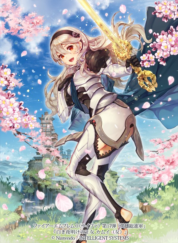 1girl bangs cherry_blossoms commentary_request company_name copyright_name day female_my_unit_(fire_emblem_if) fire_emblem fire_emblem_cipher fire_emblem_if hairband holding holding_sword holding_weapon itou_misei long_hair long_sleeves looking_at_viewer my_unit_(fire_emblem_if) official_art outdoors petals puffy_sleeves solo sword weapon white_hair