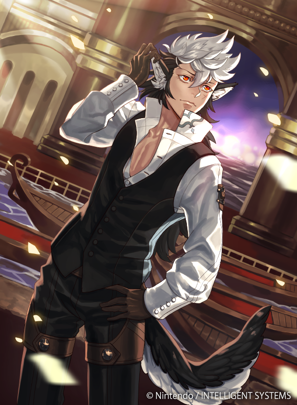1boy animal_ears boat fire_emblem fire_emblem_cipher fire_emblem_if flannel_(fire_emblem_if) gloves kyo_niku long_hair male_focus multicolored_hair official_art orange_eyes scar solo sparkle tail two-tone_hair water watercraft white_hair wolf_ears wolf_tail