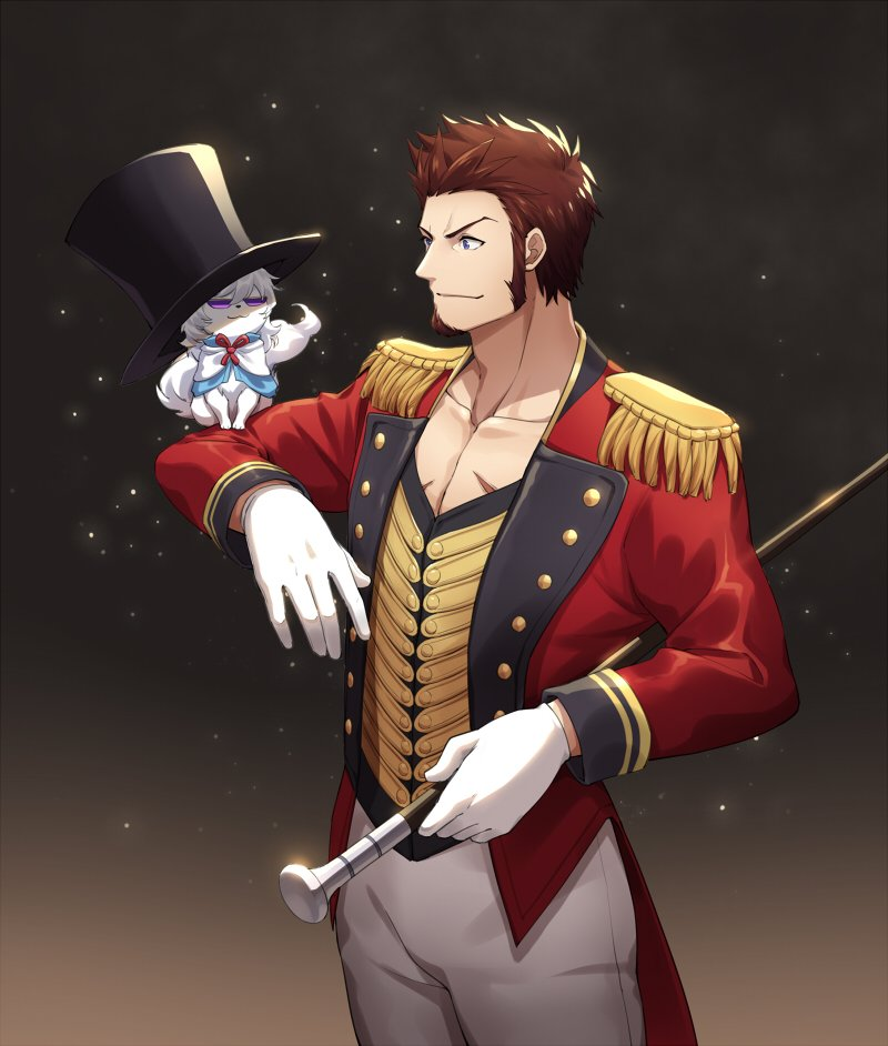 1boy 47_(479992103) beard blue_eyes brown_hair chest circus commentary_request creature epaulettes facial_hair fate/grand_order fate_(series) fou_(fate/grand_order) hat long_sleeves male_focus napoleon_bonaparte_(fate/grand_order) pants scar smile uniform