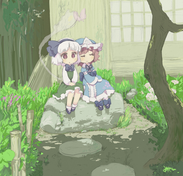 2girls :o bamboo black_footwear blue_dress bob_cut bug butterfly closed_eyes dappled_sunlight day dress eyebrows_visible_through_hair flower frills garden grass hair_ornament hairband hat hitodama insect japanese_clothes konpaku_youmu konpaku_youmu_(ghost) long_sleeves looking_at_viewer mary_janes multiple_girls no_nose open_mouth oto outdoors pink_hair saigyouji_yuyuko shoes short_hair sitting smile socks source_request sunlight tareme touhou tree triangular_headpiece v_arms white_hair window