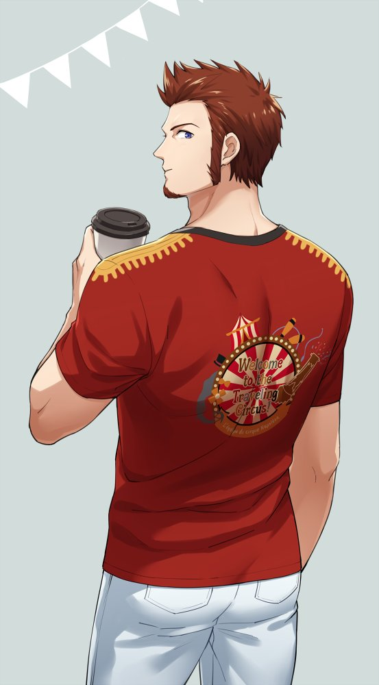 1boy 47_(479992103) beard blue_eyes brown_hair circus commentary_request cup drinking epaulettes facial_hair fate/grand_order fate_(series) looking_at_viewer male_focus napoleon_bonaparte_(fate/grand_order) pants shirt short_sleeves simple_background solo