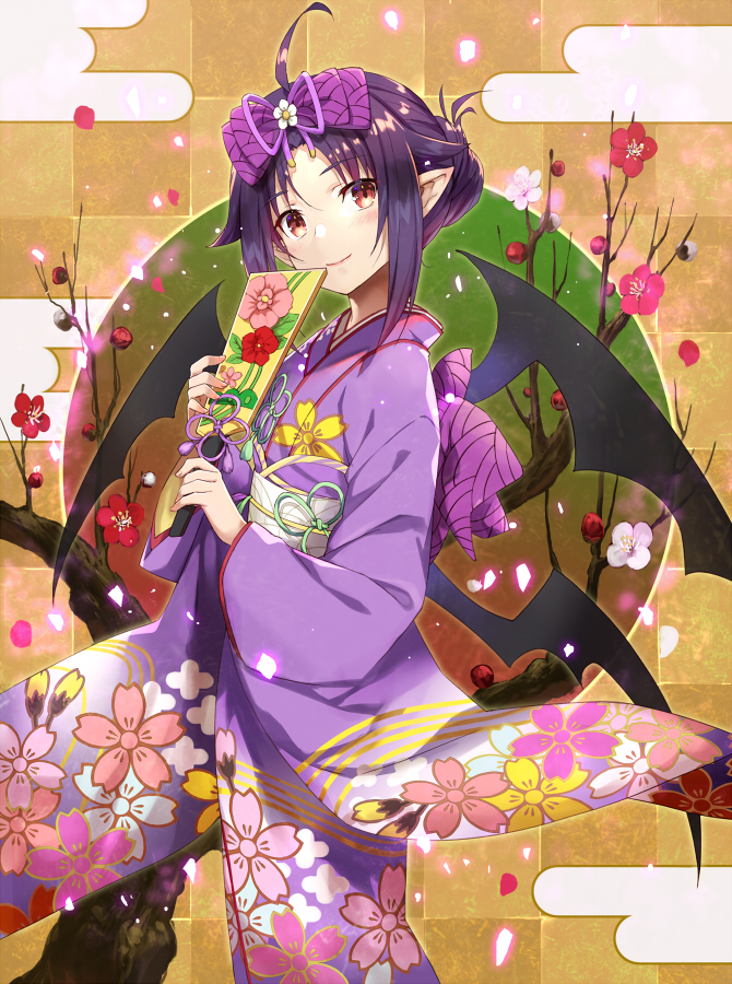 1girl ahoge bangs blush bow checkered checkered_background closed_mouth commentary_request egasumi eyebrows_visible_through_hair floral_print flower flower_knot gabiran hagoita hair_between_eyes hair_bow head_tilt holding japanese_clothes kimono long_hair long_sleeves obi paddle parted_bangs print_kimono purple_bow purple_hair purple_kimono purple_ribbon red_eyes red_flower ribbon sash smile solo sword_art_online tree wide_sleeves yuuki_(sao)