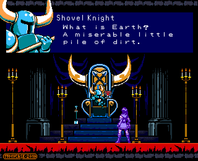 1boy 1girl bloodstained:_ritual_of_the_night commentary crossover english_commentary english_text fake_screenshot miriam_(bloodstained) parody pixel_art shovel_knight shovel_knight_(character) throne throne_room tomycase what_is_a_man?
