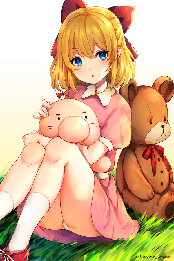 1girl :o ape_(company) artist_name ass bangs beige_background blonde_hair blue_eyes blush bow child commentary_request cute doseisan dress eyebrows_visible_through_hair feet_out_of_frame gradient gradient_background grass hair_between_eyes hair_bow hal_laboratory_inc. knees_up looking_at_viewer marota moe mother_(game) mother_2 neck_ribbon nintendo panties pantyshot pantyshot_(sitting) parted_lips paula_(mother_2) pink_dress puffy_short_sleeves puffy_sleeves red_bow red_footwear red_neckwear red_ribbon ribbon sash shoes short_dress short_hair short_sleeves sitting socks solo stuffed_animal stuffed_toy teddy_bear thighs twitter_username underwear white_background white_legwear white_panties white_sash
