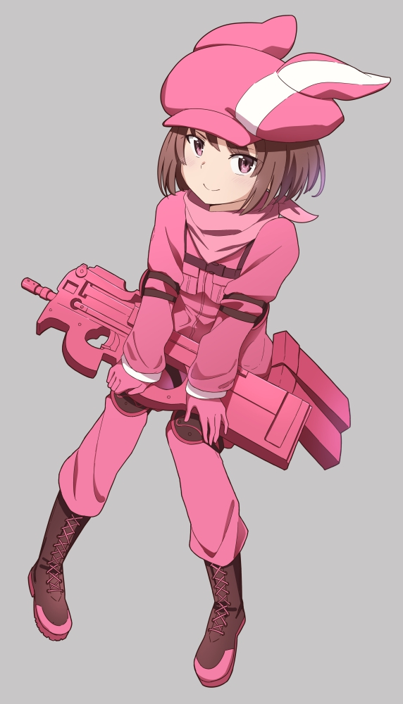 1girl boots brown_eyes brown_footwear brown_hair closed_mouth gloves grey_background invisible_chair jacket llenn_(sao) looking_at_viewer military military_jacket military_uniform p-chan_(p-90) pants pink_gloves pink_headwear pink_jacket pink_pants pink_scarf rizuta scarf short_hair simple_background sitting smile solo sword_art_online sword_art_online_alternative:_gun_gale_online uniform