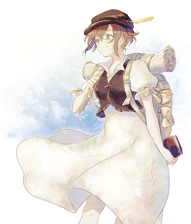 1girl book brown_hair chizu_(fiute) dress feathers green_eyes hat jewelry long_hair octopath_traveler short_hair simple_background smile solo tressa_(octopath_traveler) white_background