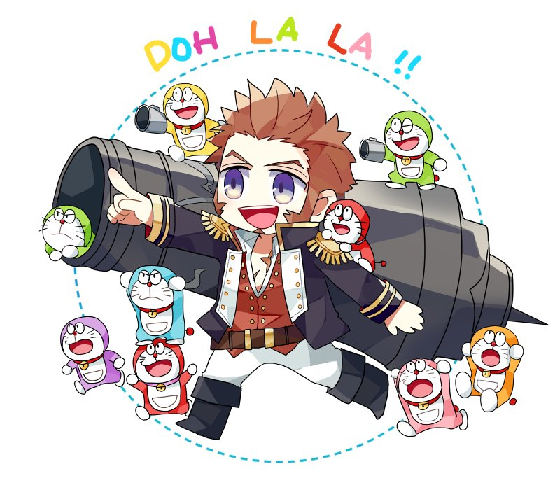 1boy beard blue_eyes brown_hair chibi commentary_request crossover doraemon_(character) epaulettes facial_hair fate/grand_order fate_(series) gutshika long_sleeves male_focus military military_uniform napoleon_bonaparte_(fate/grand_order) pants scar smile uniform weapon white_background