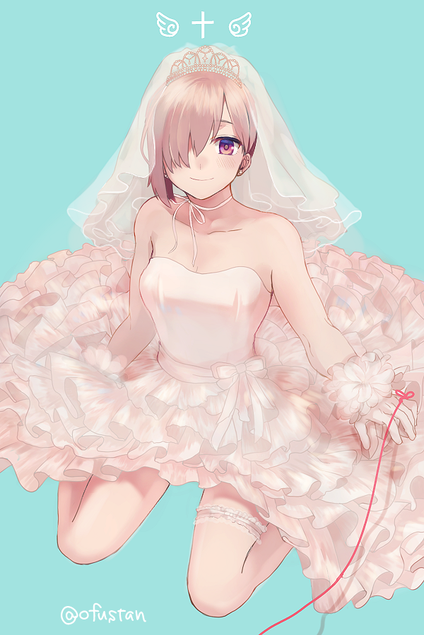 1girl aqua_background bare_arms bare_legs bare_shoulders bow bride closed_mouth cross dress fate/grand_order fate_(series) frilled_dress frills full_body gloves hair_over_one_eye kneeling lavender_hair looking_at_viewer mash_kyrielight ofstan red_string short_hair simple_background smile solo strapless strapless_dress string thighlet twitter_username veil violet_eyes waist_bow wedding_dress white_bow white_dress white_gloves wings
