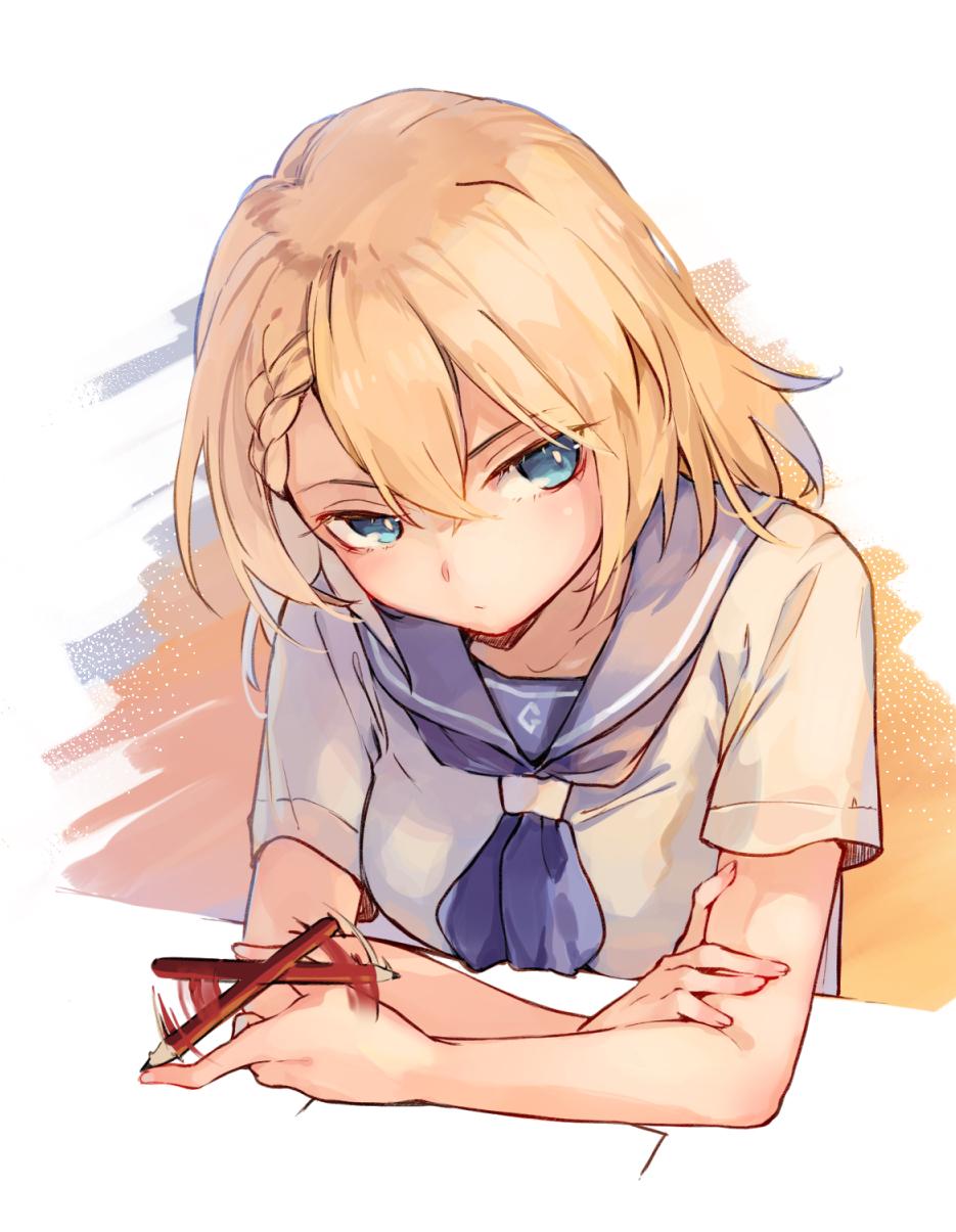 1girl blonde_hair blue_eyes braid g36_(girls_frontline) girls_frontline highres looking_at_viewer pencil playing school_uniform serafuku shuzi solo table