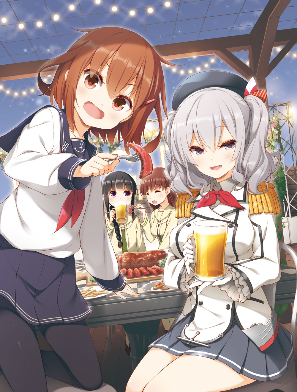 4girls alcohol anchor_symbol bangs beer beer_mug beret black_hair black_headwear black_legwear blue_eyes blunt_bangs blush braid breasts brown_hair buttons closed_eyes commentary_request cup epaulettes eyebrows_visible_through_hair fang feeding food fork french_fries frilled_sleeves frills gloves grey_eyes hair_between_eyes hair_ornament hair_over_shoulder hair_ribbon hairclip hat highres holding holding_cup holding_fork ikazuchi_(kantai_collection) jacket kantai_collection kashima_(kantai_collection) kerchief kitakami_(kantai_collection) large_breasts long_hair long_sleeves looking_at_viewer meat multiple_girls neckerchief ooi_(kantai_collection) open_mouth outdoors pantyhose plate pleated_skirt red_neckwear remodel_(kantai_collection) ribbon school_uniform serafuku short_hair sidelocks silver_hair single_braid sitting skirt sky smile star steak table thighs tress_ribbon twintails uniform violet_eyes wavy_hair white_gloves white_jacket yume_no_owari