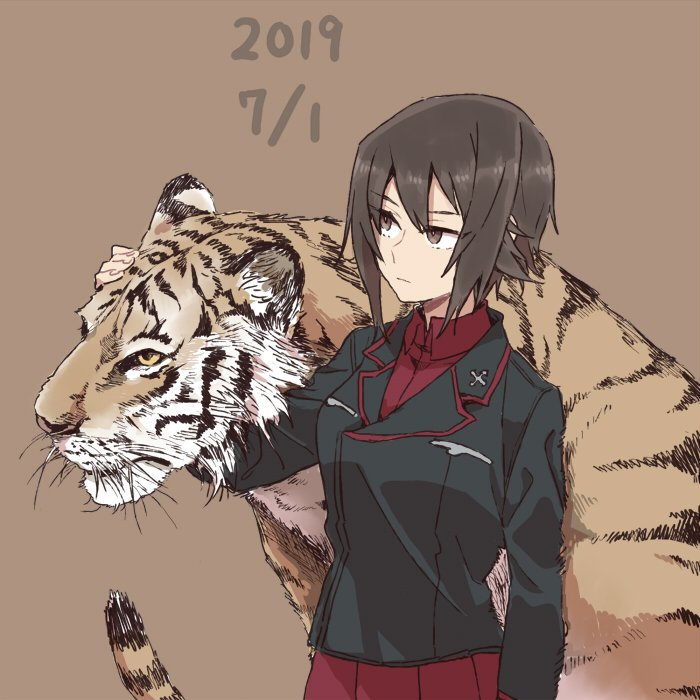 1girl animal bangs bright_pupils brown_background brown_eyes brown_hair dated girls_und_panzer hand_on_another's_head jacket kuromorimine_military_uniform long_sleeves looking_to_the_side nishizumi_maho pleated_skirt red_skirt ree_(re-19) shirt short_hair simple_background skirt solo standing tiger white_pupils