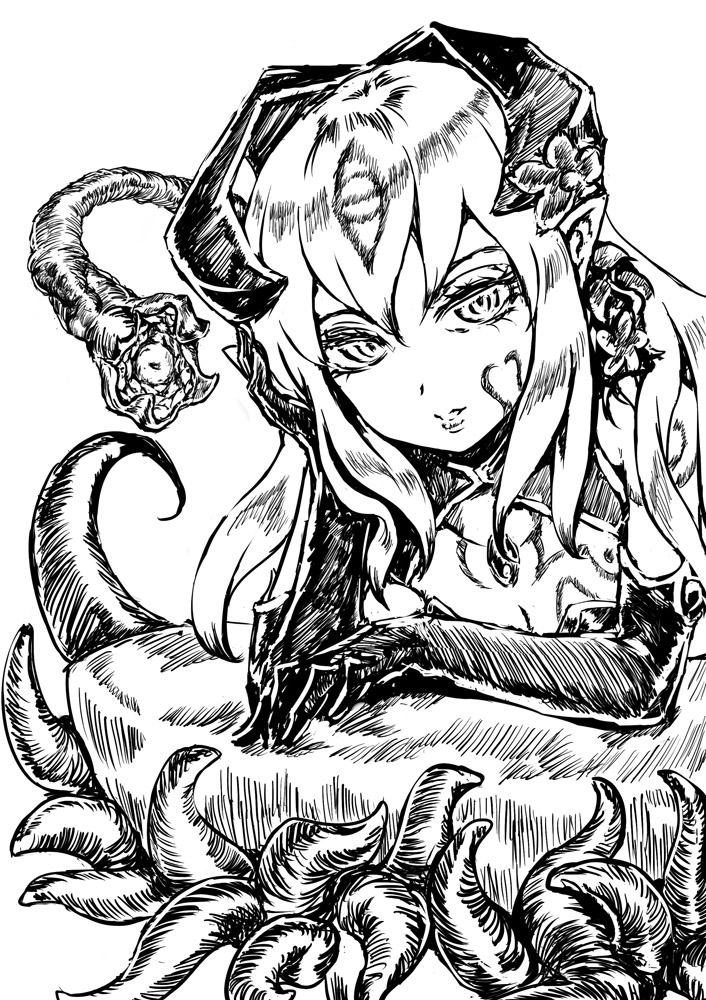 1girl alisfieze_fateburn_xvi breasts elbow_gloves flower gloves greyscale hair_between_eyes hair_flower hair_ornament hand_on_head horns jitsu_shizu long_hair looking_at_viewer mon-musu_quest! monochrome monster_girl parted_lips pointy_ears simple_background sketch solo tentacles upper_body white_background
