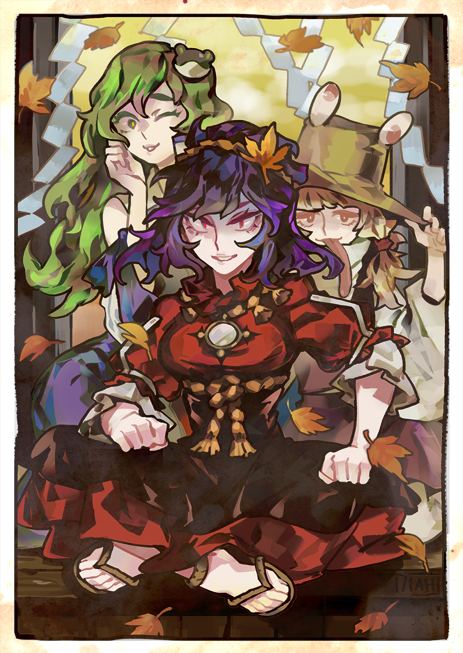3girls arlmuffin autumn_leaves bangs blonde_hair blue_skirt border brown_headwear clenched_hands commentary dress english_commentary frog_hair_ornament green_hair hair_ornament hair_tubes hand_on_headwear hand_up hat highres indian_style kochiya_sanae leaf leaf_hair_ornament long_hair long_sleeves long_tongue looking_at_viewer low_twintails moriya_suwako multiple_girls nontraditional_miko one_eye_closed parted_lips purple_hair purple_skirt purple_vest red_dress red_eyes rope sandals shide sitting skirt skirt_set smile tongue tongue_out touhou twintails vest yasaka_kanako yellow_eyes