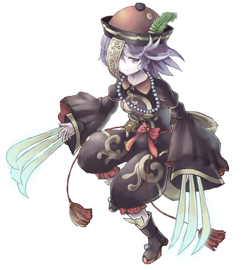 1girl aoiyamagi4 black_dress blue_hair brown_eyes claws dress full_body hat jewelry jiangshi lei-mei looking_at_viewer necklace ofuda pale_skin sennen_sensou_aigis short_hair simple_background solo standing tassel wide_sleeves