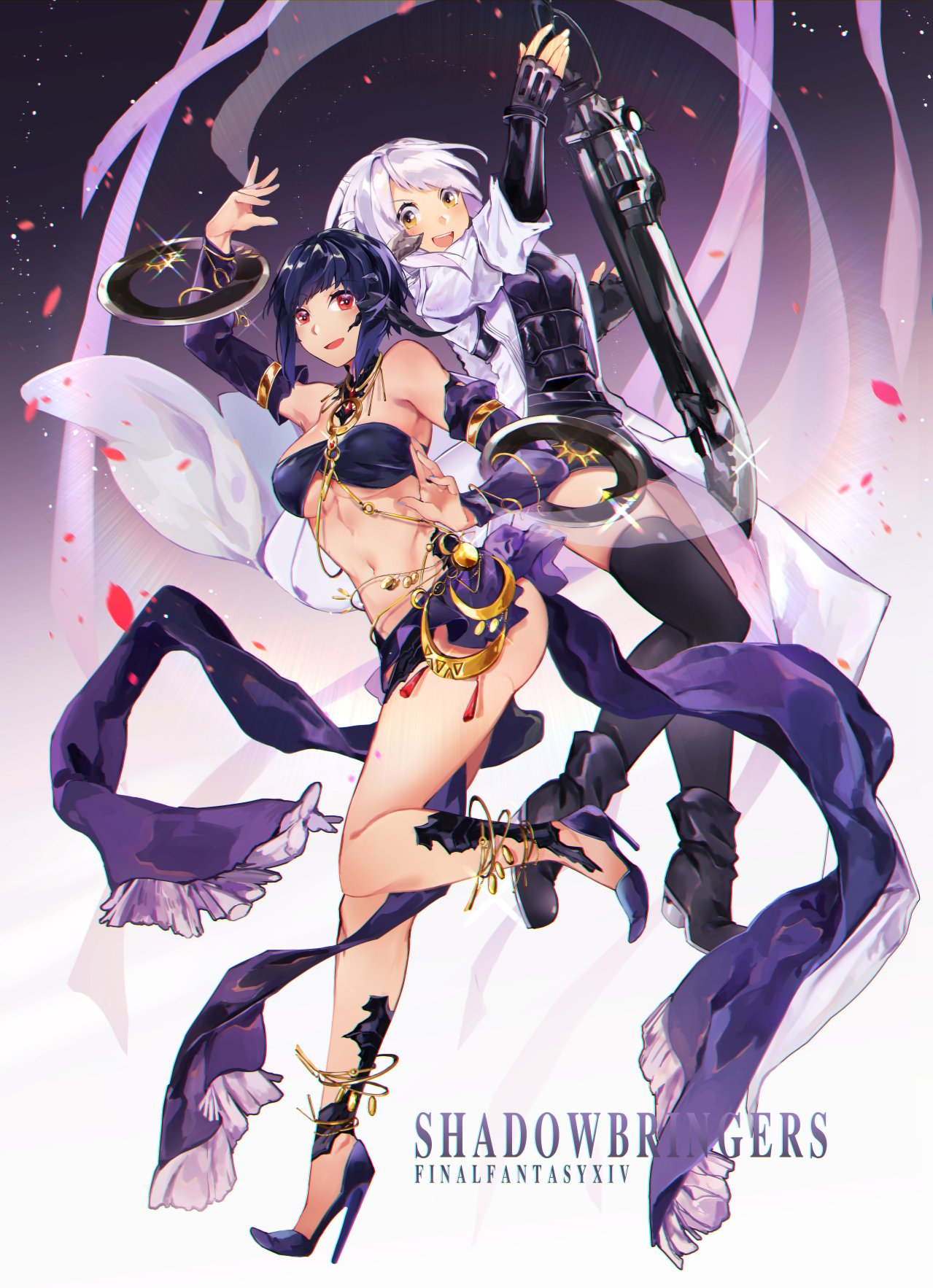 2girls ass au_ra bare_shoulders black_footwear black_hair black_legwear bra breasts chakram commentary dancer_(final_fantasy) detached_sleeves final_fantasy final_fantasy_xiv gun gunbreaker_(final_fantasy) high_heels highres hite_hair jacket jewelry looking_at_viewer medium_breasts multiple_girls navel original purple_bra red_eyes ring rirene_rn scales sleeves_rolled_up sword thigh-highs underwear weapon white_jacket yellow_eyes